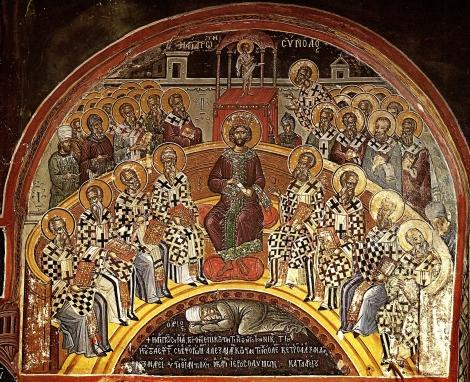 Intaiul Sinod Ecumenic de la Niceea 1.1 fresca Man Stavronichita, Athos