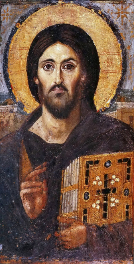 Icoana Iisus Hristos Pantocrator Man Sf Ecaterina din Sinai  1.1
