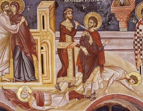 1. Sf Mc Mina, Ermoghen si Evgraf 1 Fresca din anul 1721 Man Vatoped Sf Munte Athos Grecia