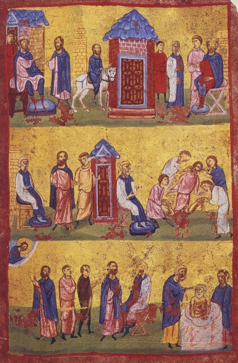 1. Sf Mc Mina, Ermoghen si Evgraf 4 Marturisirea Sf Mina si botezul Sf Ermoghen miniatura din sec XI Sf Munte Athos, Grecia