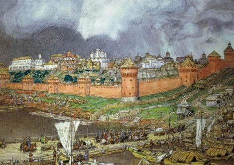 2. Moscova în vremea lui Ivan ak III-lea, acuarela (1921) de Apollinari Wasnezow 1