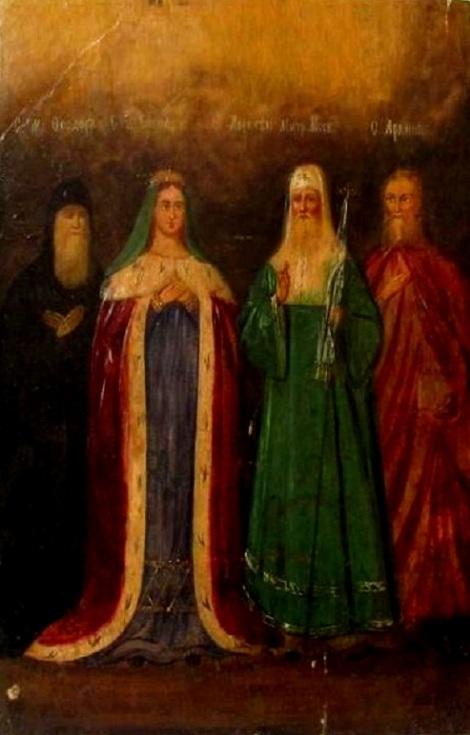 Sf Ap Arhip 1.1 Sf Teodor, Sf imparateasa Elena, Sf Ier Alexie, mitropolitul Moscovei, si Sf Arhip (icoana sec XIX)