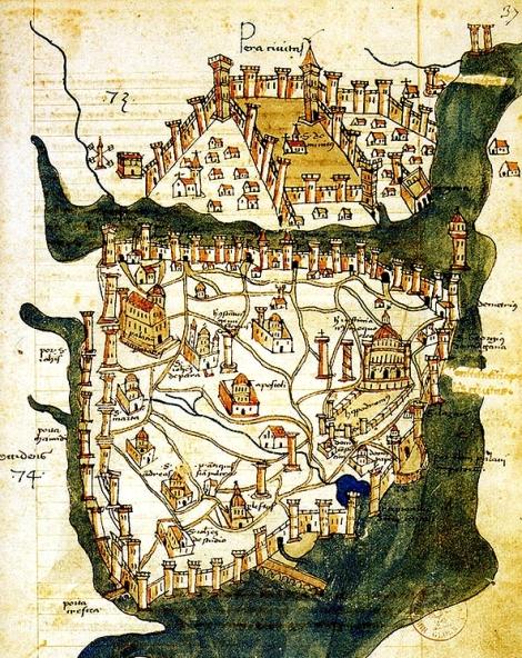 Constaninopol - cea mai veche harta, 1422, catograful florentin Cristoforo Buondelmonte