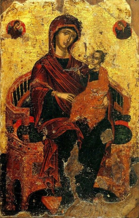 Icoana Maicii Domnului cu Pruncul pe tron, Athos, sec XVI 1.1