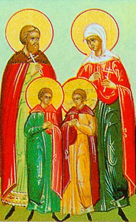 Sf Mc Claudiu Tribunul, sotia sa Ilaria si fiii lor Iason si Mavru 1.1